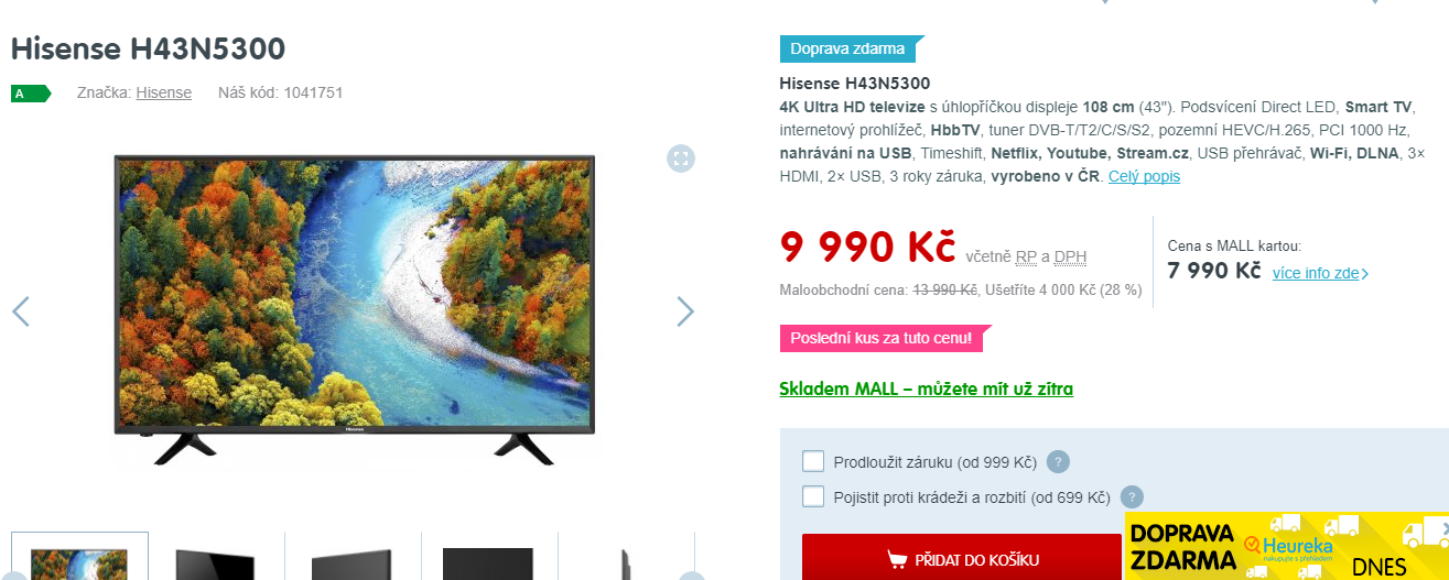 Ultra HD TV, Smart, 108 cm, Hisense | ToSeVyplatí