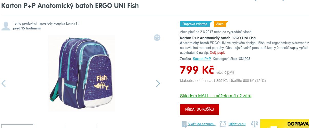 ef11d484c65 Školní batoh Uni Fish. Školní anatomický batoh Karton ...