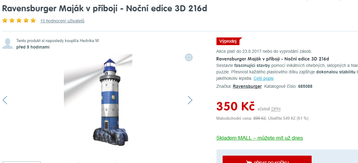 079a4161a 3D puzzle Maják s LED světlem, Ravensburger | ToSeVyplatí