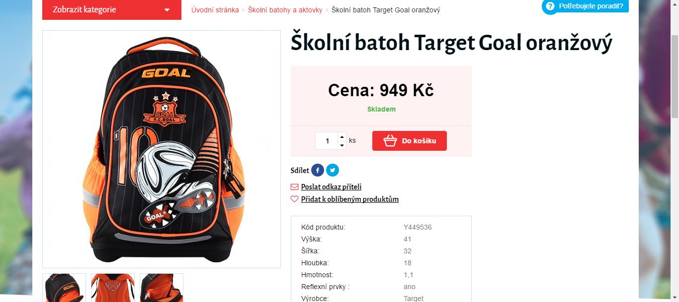 Školní batoh Target Goal 2d29d95538