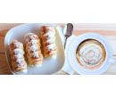 Dvě vynikající kávy a cukrem sypané kremrole   Slevomat