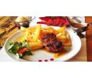 Steak ze pštrosího bio masa s přílohou a dezert | Slevomat