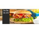 Hovězí nebo kuřecí burger, hranolky, nápoj a káva | Slevici