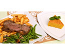 Steak z amerického býčka, příloha, salát, dezert | Slevomat
