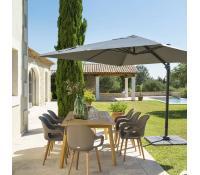 Sleva na šedý zahradní slunečník 3x3m | Dreveny-zahradni-nabytek.eu